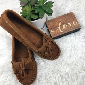 Minnetonka leather Moccasins with Rubber soles